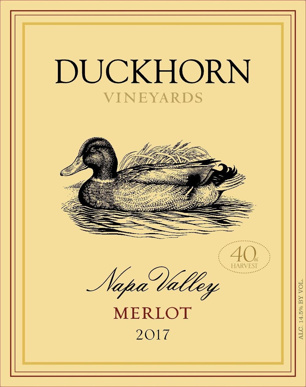Duckhorn Vineyards Merlot wine label.