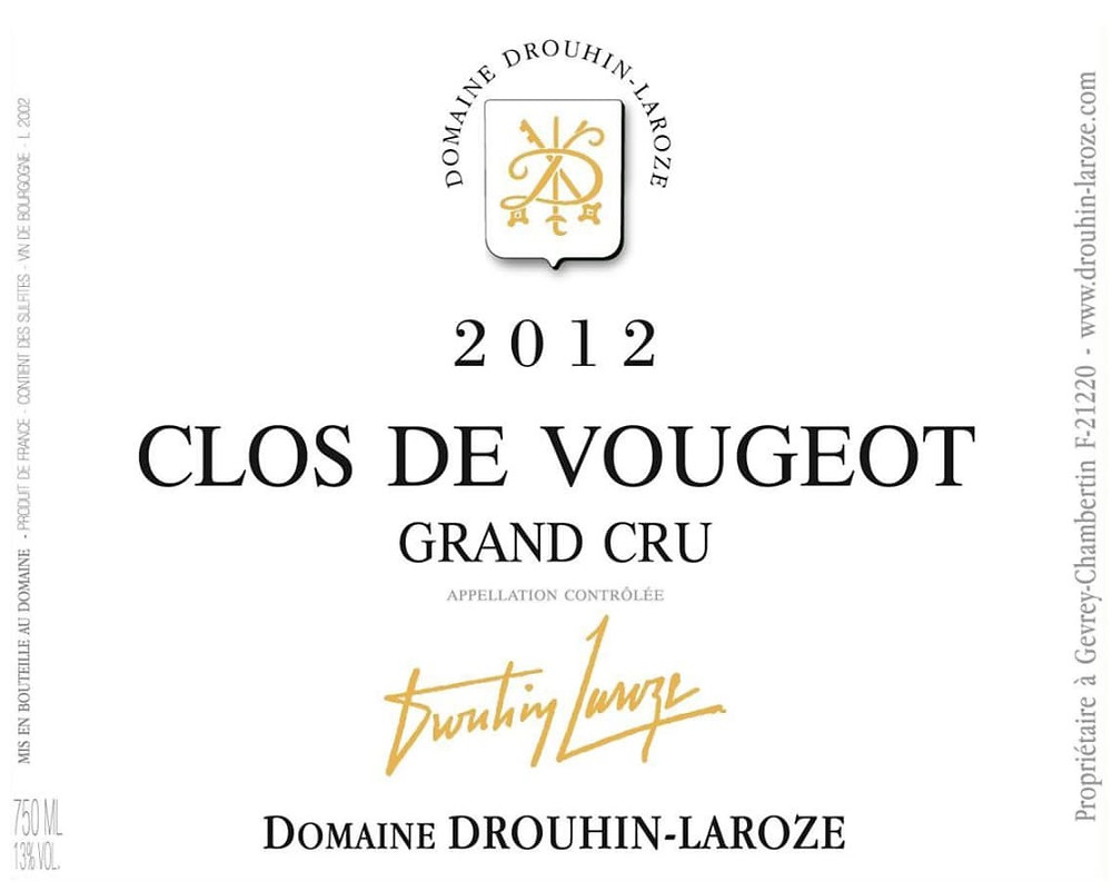 Clos de Vougeot Grand Cru wine label.