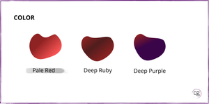 Image that shows the color range for red wine of Pale Red, Deep Rudy, and Deep Purple. Pinot Noir is identified as Pale Red in color.
