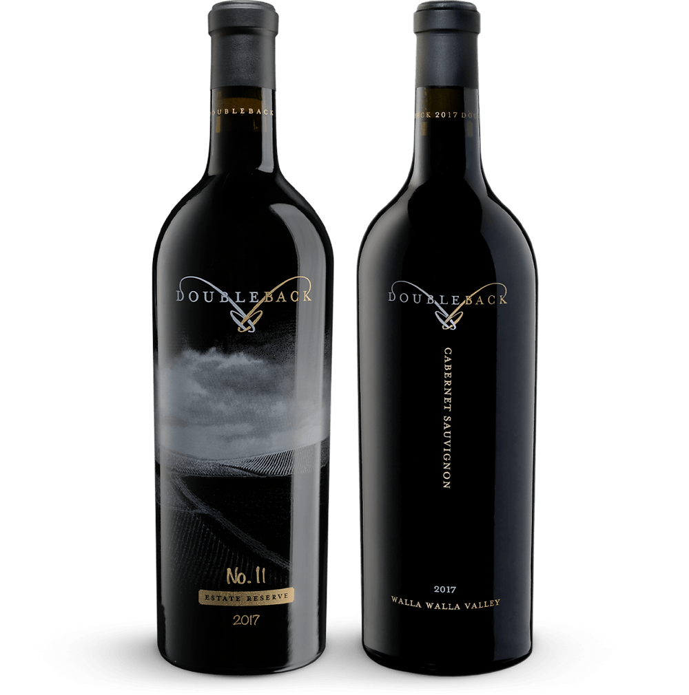 Two bottles of Doubleback Wine: Estate Reserve and Cabernet Sauvignon.