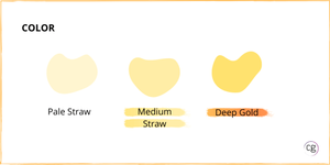 Color range for Chardonnay identifies cool climate Chardonnay as medium straw color and warm climate as deep gold color.