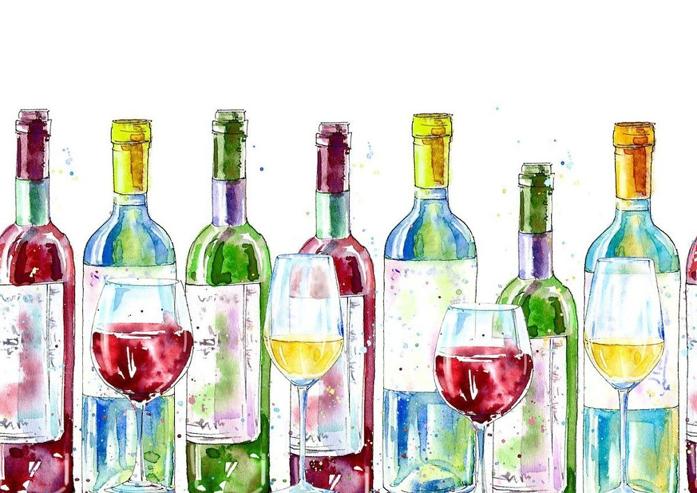 Watercolor of wine bottles and wine glasses