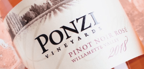 Ponzi Vineyard Pinot Noir Rose Wine Bottle