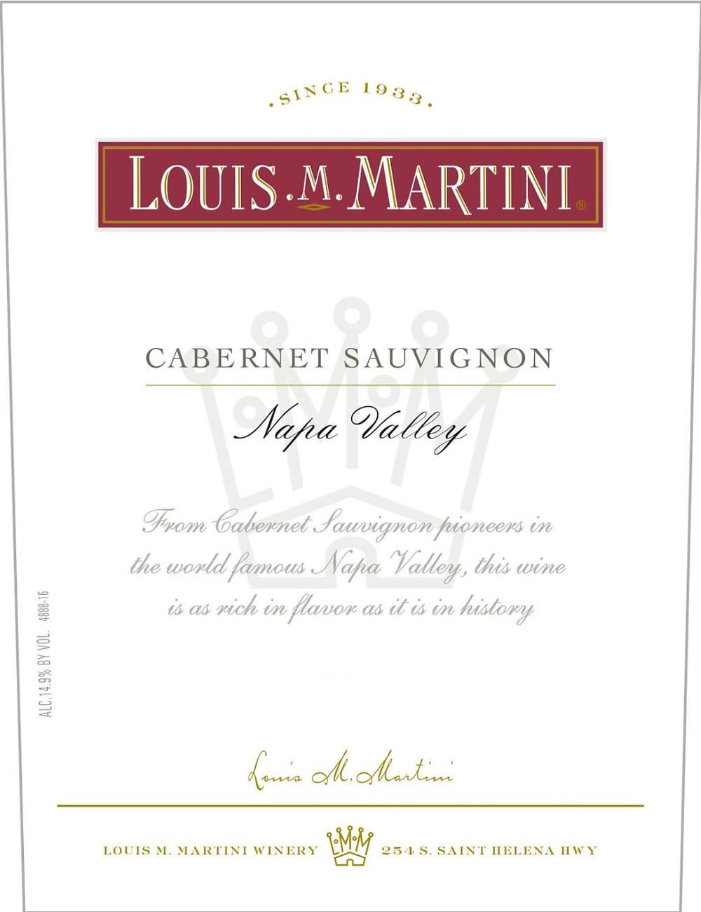 Louis M Martini Cabernet Sauvignon wine label