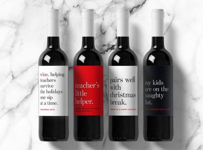 Teacher Gift Wine Labels