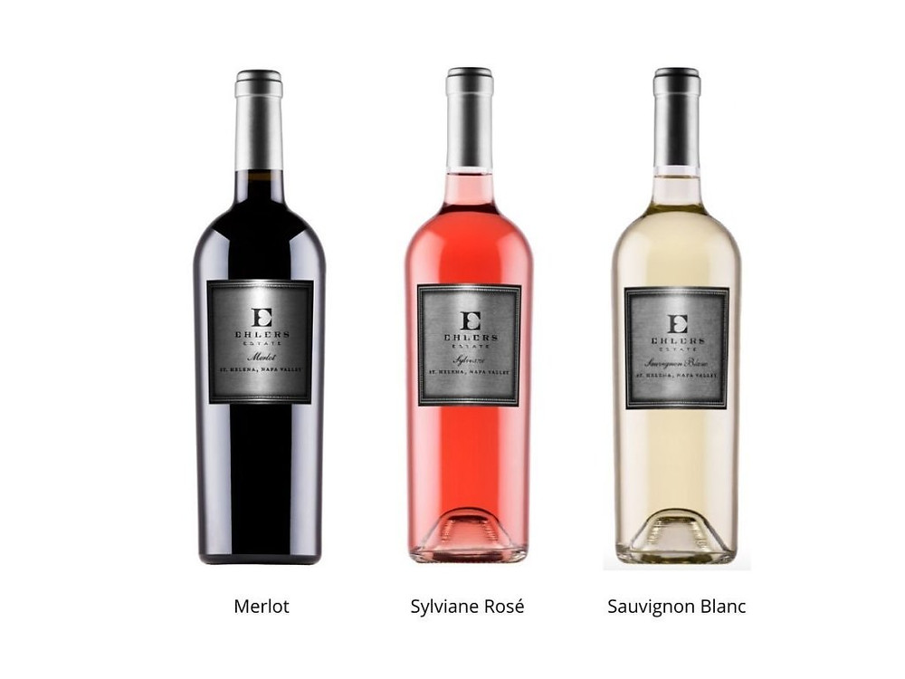 3 Bottles of Ehlers Estate Wine: Merlot, Rose, Sauvignon Blanc.