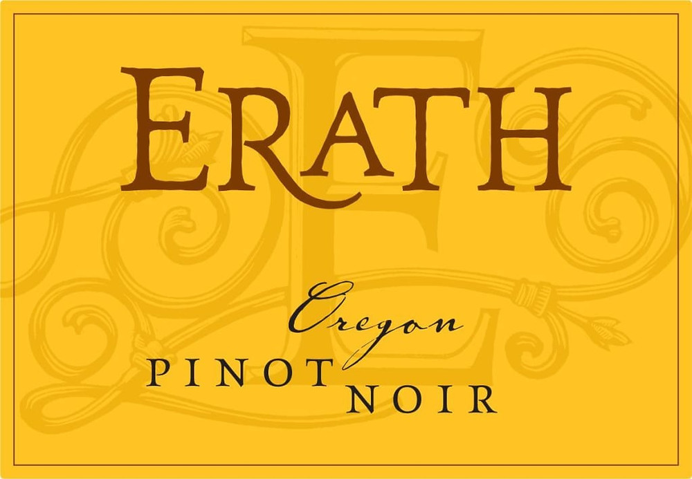 Erath Pinot Noir wine label.