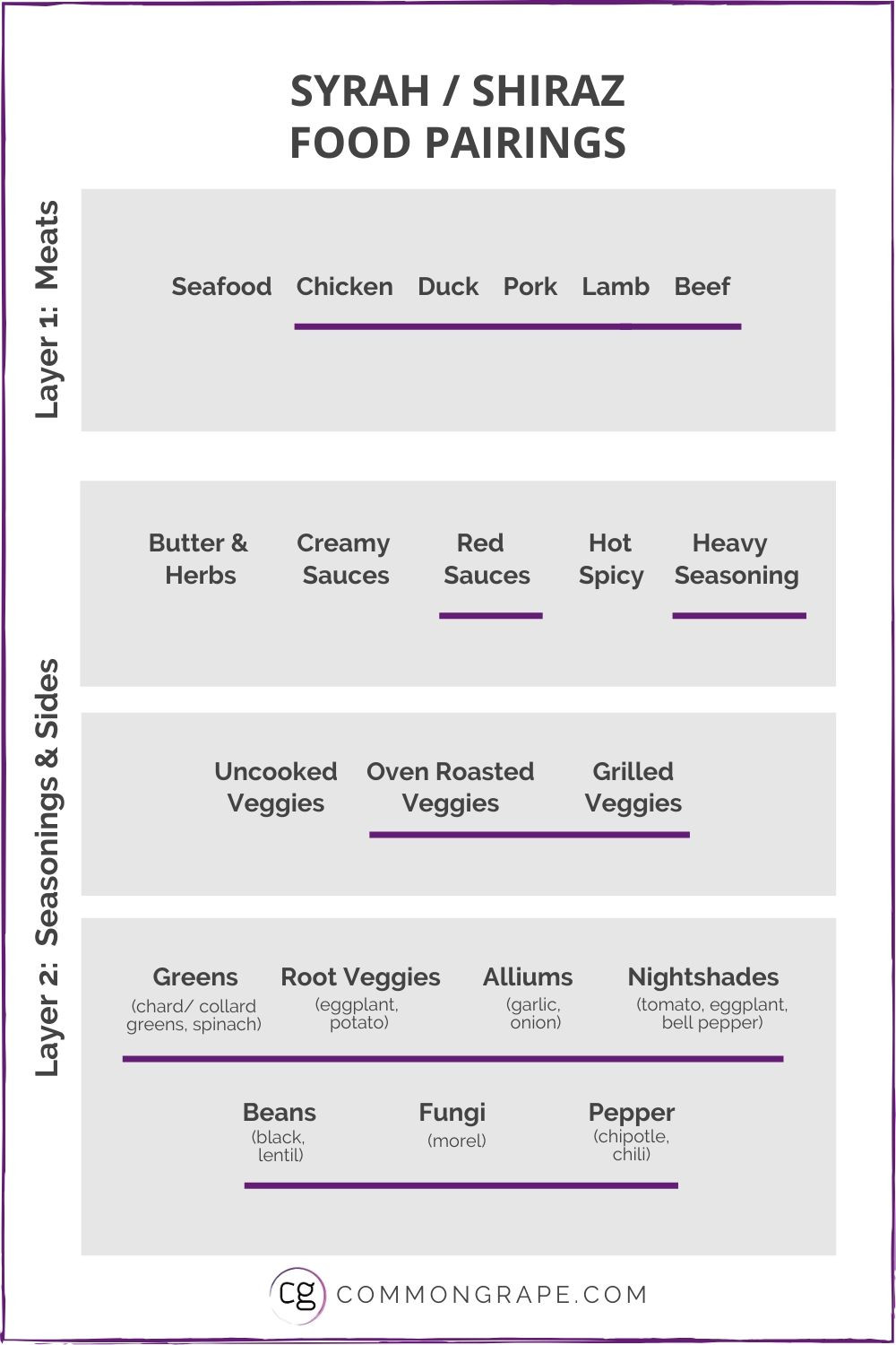 Chart showing the Syrah/Shiraz food pairings.