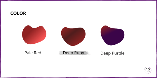 Image shows the color range for red wine is Pale Red, Deep Rudy, and Deep Purple. Cabernet Sauvignon is identified as Deep Ruby in color.