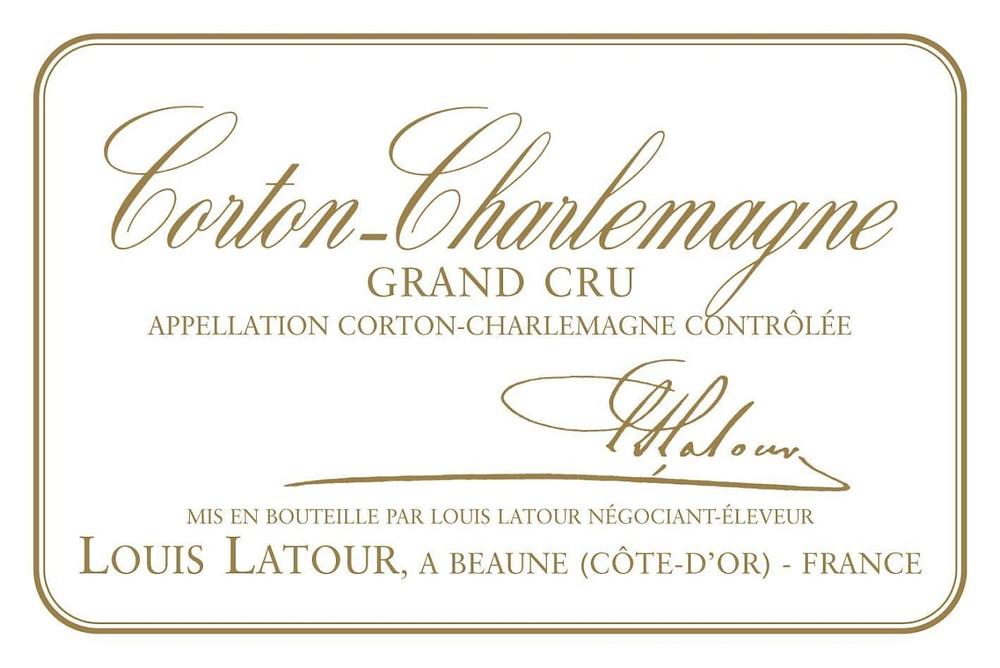 Corton-Charlemagne Grand Cru wine label.