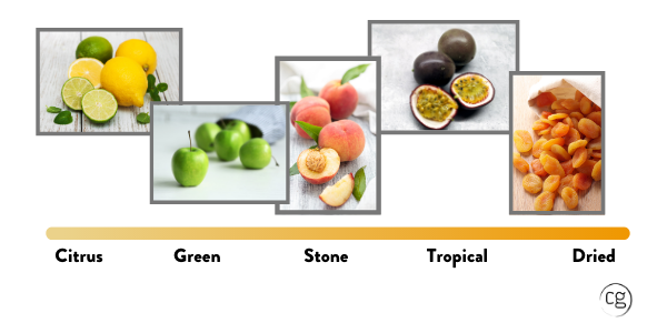 Range of fruit from citrus to dried fruit that represents the range of white wine flavors.