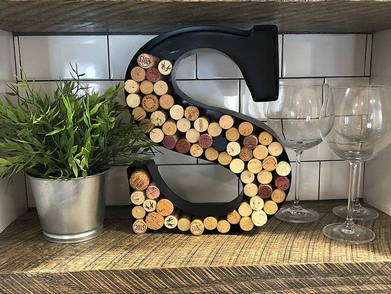 Metal Letter Wine Cork Holder