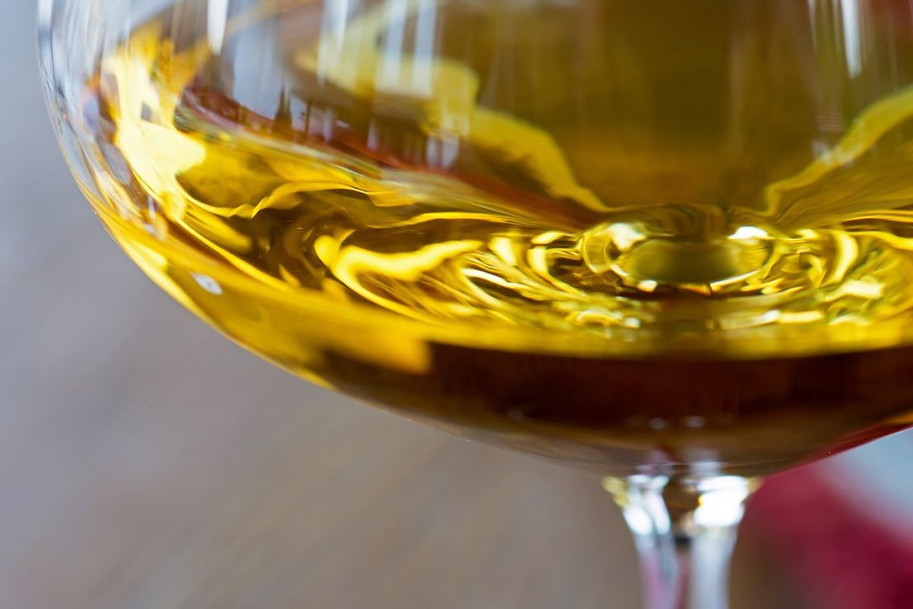Glass of Oaked Chardonnay Wine Close Up