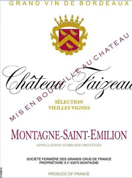 Chateau Faizeau Bordeaux from Montagne-Saint-Emillion - Wine Label
