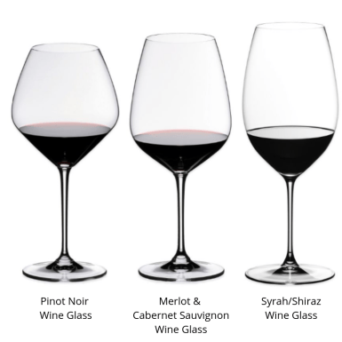 3 Red Wine glass shapes designed for Pinot Noir (extra large bowl with narrow rim) Merlot & Cabernet Sauvignon (wide bowl with narrow rim) & Syrah/Shiraz (narrow & tall bowl with medium rim opening).