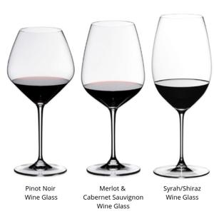 3 Red Wine glass shapes designed for Pinot Noir (extra large bowl with narrow rim) Merlot & Cabernet Sauvignon (wide bowl with narrow rim) & Syrah/Shiraz (narrow & tall bowl with medium rim opening).