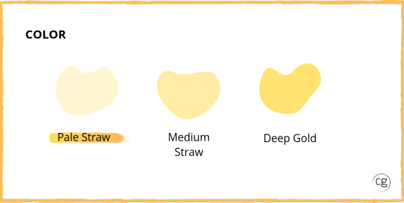 White wine color ranges from pale straw to medium straw to deep gold. Sauvignon Blanc is a pale straw color.