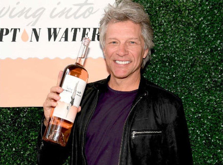 Jon Bon Jovi with this wine Diving into Hampton Water.