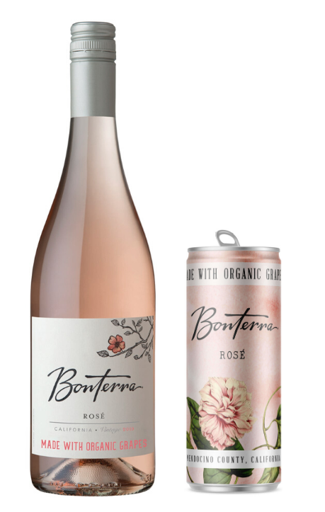 Bottle and Can of Bonterra Rose