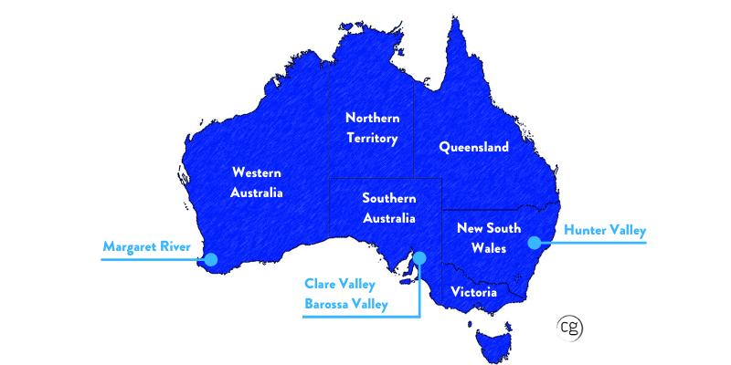 Australian Map identifying best regions for Shiraz.