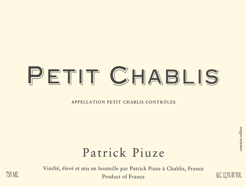 Petit Chablis - regional level wine label