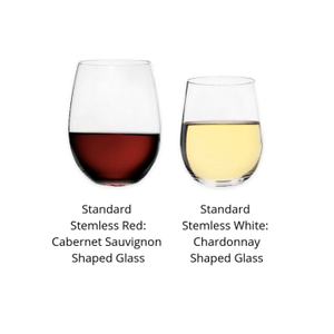 Stemless red wine glass that is taller with a larger bowl next to a stemless white wine glass that is shorter with a smaller bowl.
