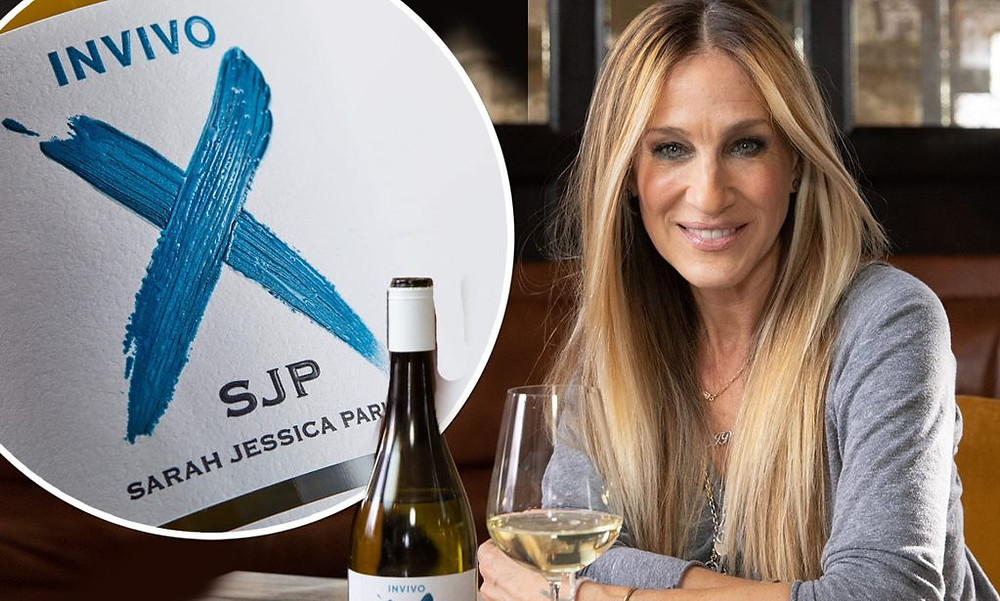 Picture of Sarah Jessica Parker with her wine Invivio X, SJP. She is a celebrity making wine.