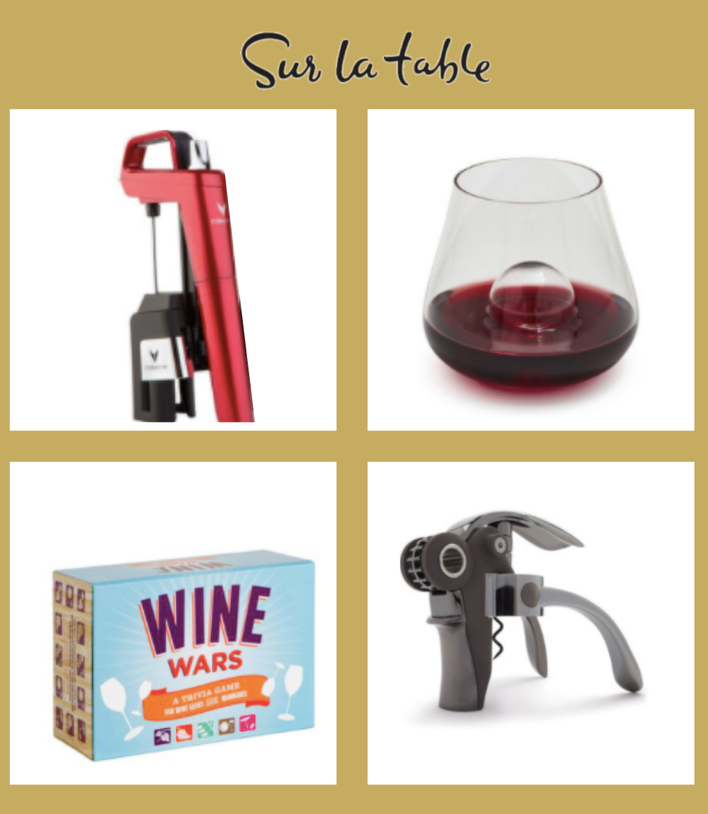 Image of 4 different accessories from Sur la Table: Coravin, wine glass, wine opener, and wine game.