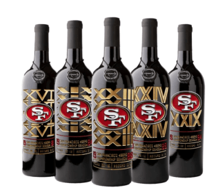 5 Bottles of San Francisco 49ers Super Bowl commemorative wine.