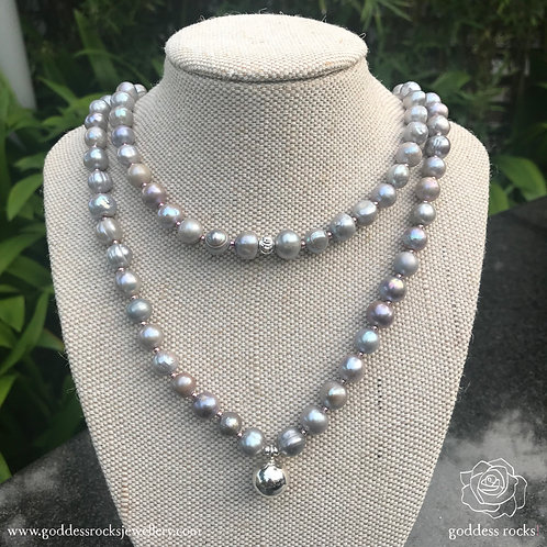 Necklace - Silver Freshwater Pearl, 925 Silver with pink
