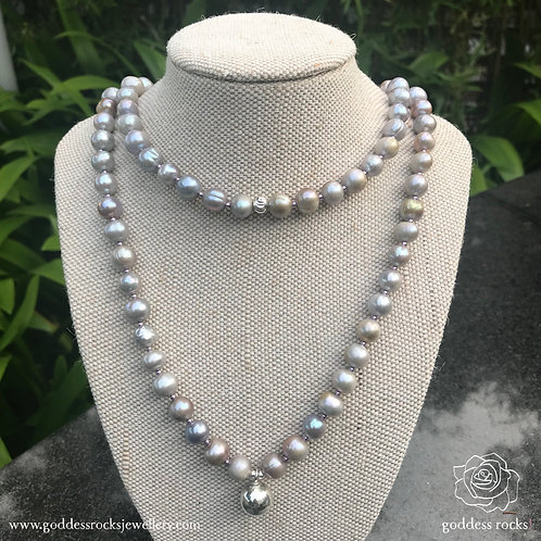 Necklace - Silver Freshwater Pearl, 925 Silver with violet