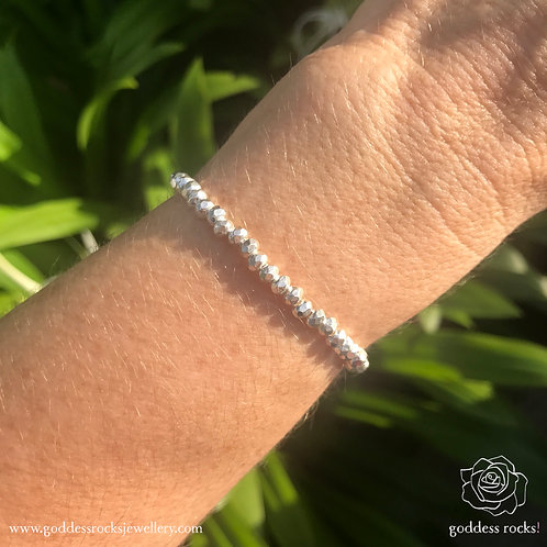 925 Silver Bracelet - Round Faceted