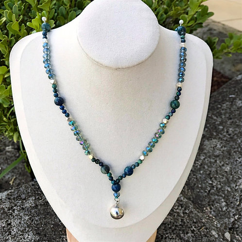 Azurite and Chrysocolla with 925 Sterling Silver