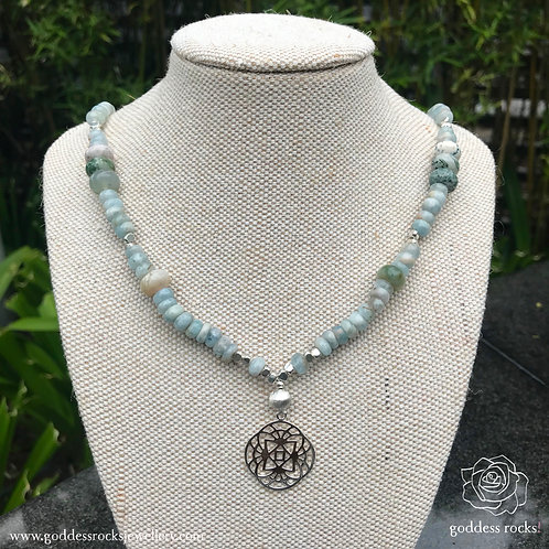 Necklace - Aquamarine, Moss Agate and 925 Silver