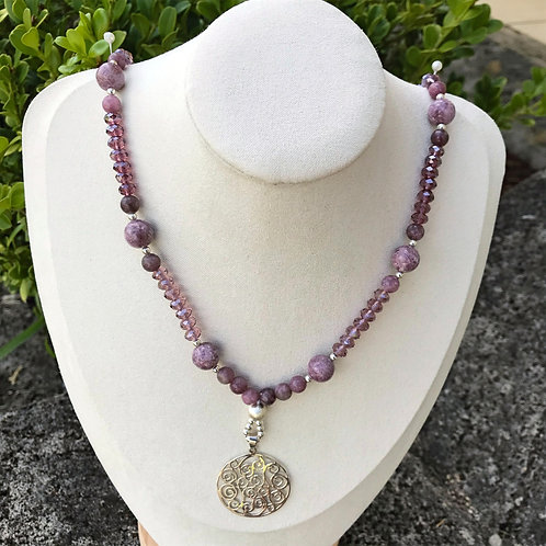 Lepidolite with 925 Sterling Silver