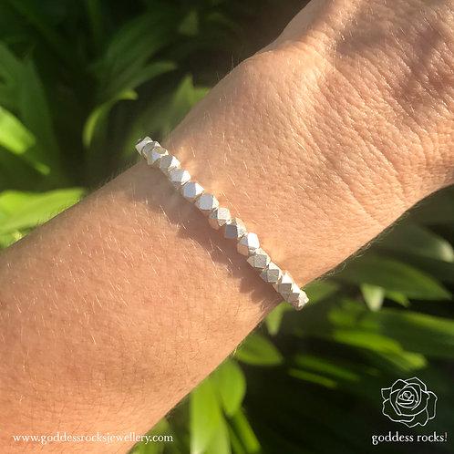 925 Silver Bracelet - Square Faceted