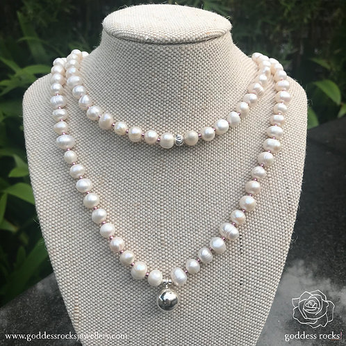 Necklace - White Freshwater Pearl, 925 Silver with pink