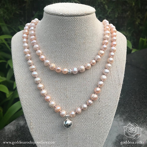 Necklace - Peach Freshwater Pearl, 925 Silver with rose gold