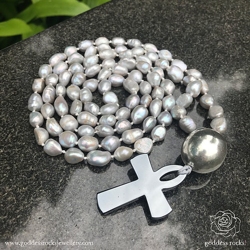 Mala White - Freshwater Pearl, 925 Silver and Hematite Ankh
