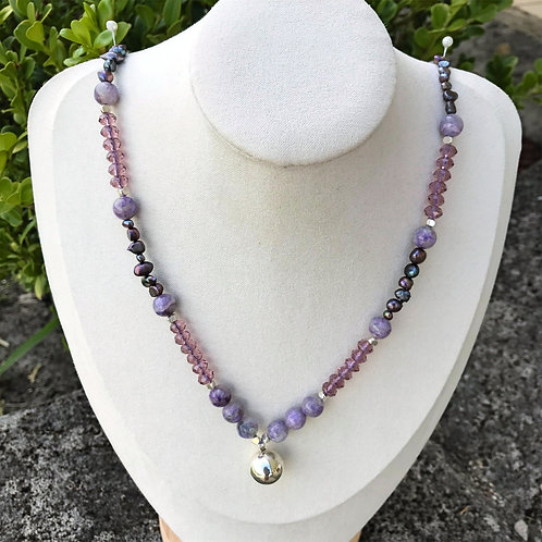 Amethyst and Freshwater Pearl with 925 Sterling Silver