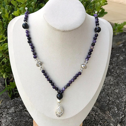 Sugilite, Amethyst, Freshwater Pearl with 925 Sterling Silver