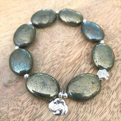 Pyrite & silver bracelets