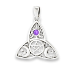 Celtic Triquetra with Pentagram, Synthetic Amethyst and Celestial Design Pendant