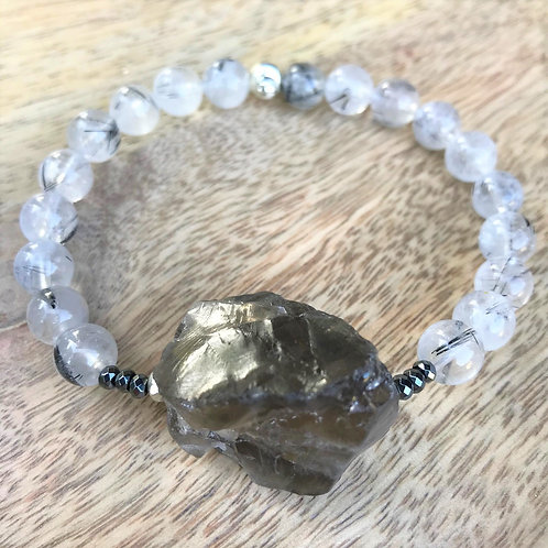 Smokey quartz stone bracelets - sizes L 19cm & XL wrist