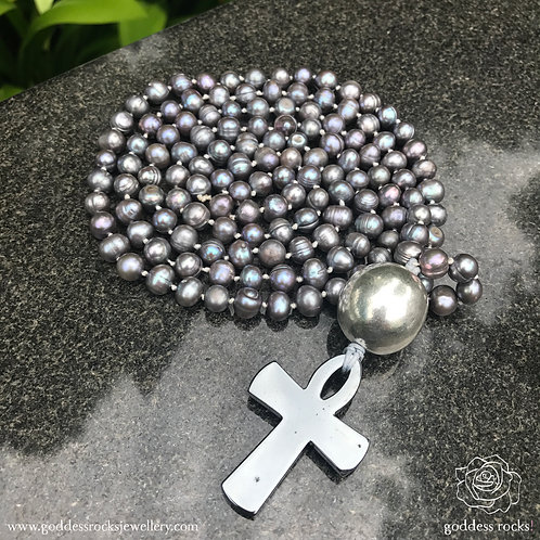Mala Silver - Freshwater Pearl, 925 Silver and Hematite Ankh