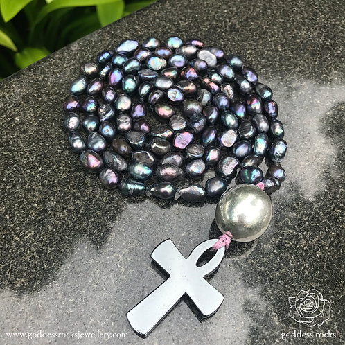 Mala Peacock - Freshwater Pearl, 925 Silver and Hematite Ankh