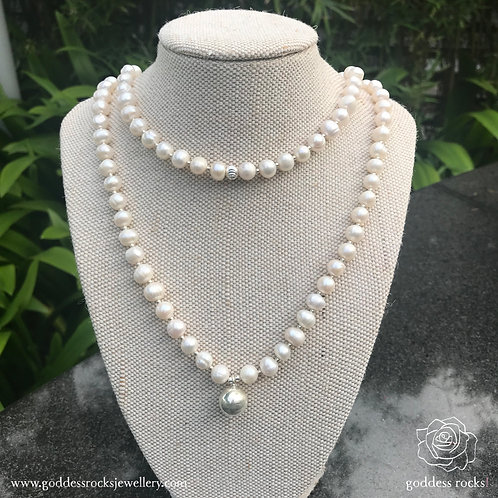 Necklace - White Freshwater Pearl, 925 Silver with gold