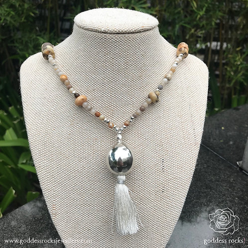 Necklace - Fossil Coral, Jasper and 925 Silver