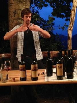 Nick de Rachewiltz describes his production techniques at a private wine tasting at Brunnenburg Castle.