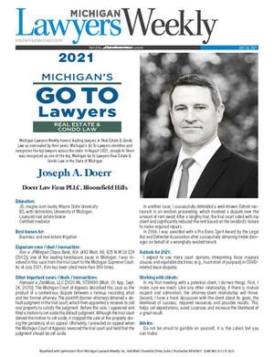 Michigan Lawyers Weekly's Go To Lawyers